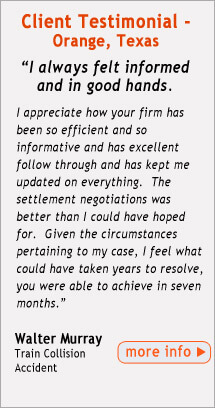 Testimonial from Beaumont Area FELA Client