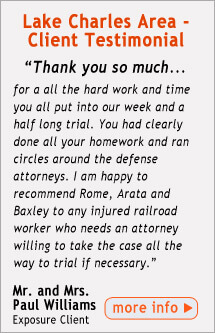 Testimonial from Lake Charles Area FELA Client
