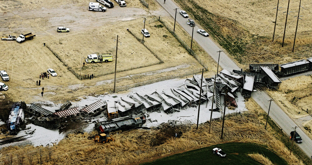 Aerial view of derailment caused by Grade Crossing Collision.